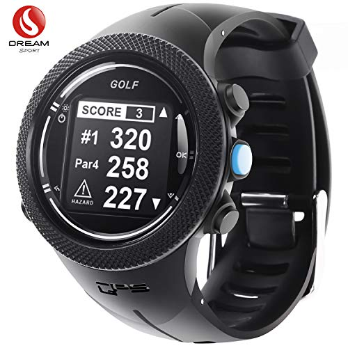DREAM SPORT GPS Golf Watch Course Rangefinder Measure Shot and Recording Score with 40,000+ Courses Updating and 30Meter Waterproof - Warranty1.5 Year and Free Lifetime Brand Service DGF301 (Black)