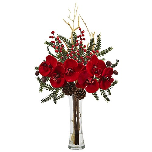 (Nearly Natural 1438 Mixed Orchid Holiday Arrangement with)