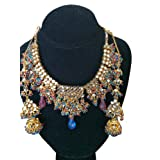 Ethnic Bridal Jewelry Gold Tone Kundan Polki Necklace Earring Set