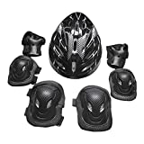 Baosity Adult Sports Safety Protective Gear Set Elbow Knee Pads Wrist Guard Helmet for Beginners Color Optional - Black, 26x20x13cm