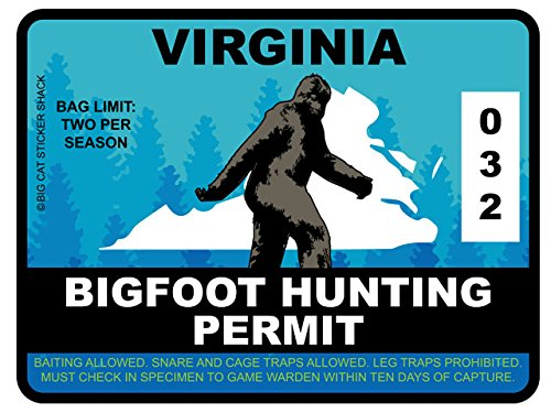 Bigfoot Hunting Permit - VIRGINIA (Bumper Sticker)