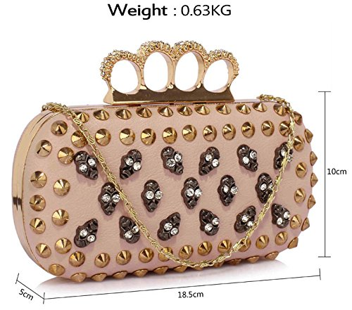 Womens Design New 1 Handbag Ladies Clutch Nude Unique Studs Bag With Shoulder Fashion Chain Evening Skull wqOUYXg