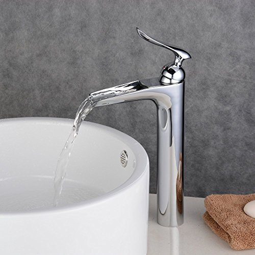 Ollypulse Brass One Hole Single Handle Waterfall Bathroom Vessel Sink Faucet, Polished Chrome