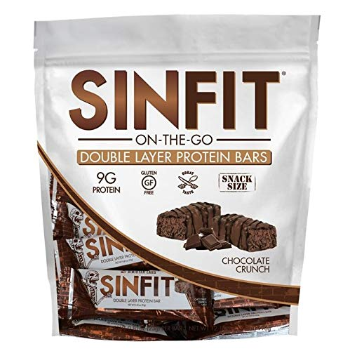SINFIT On-the-Go - 15 Snack Size Bars in a Bag - Double Layer High Protein Crunch Bar by Sinister Labs - 9 g protein! Gluten-free - 15 (0.81 oz) Bars (Chocolate Crunch)