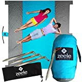Best Sandproof Large Beach Blanket - Huge '9 x '10 - Holds 7 Adults - Quick Dry Durable 210T Nylon, 5 Sand Pockets, Valuables Storage, Anchor Loops & Quality Stakes - Oversized Beach Blanket
