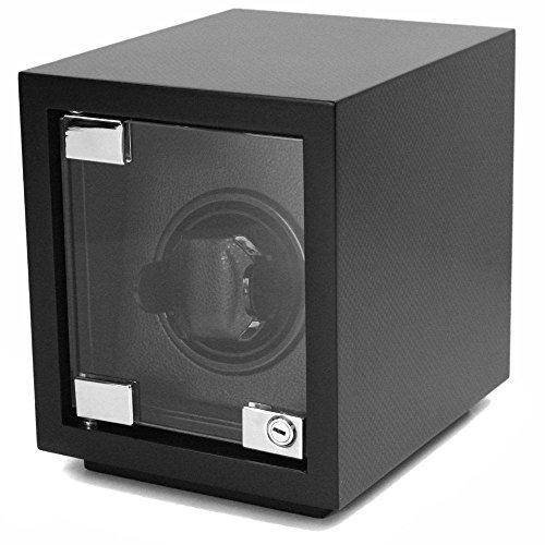 (Tech Swiss Watch Winder Single Wood Black Carbon Fiber Design)