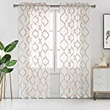 Cheap DWCN Moroccan Embroidered Sheer Curtains – Faux Linen Semi Voile Bedroom and Living Room Curtains, 52 W x 84 L Inch, Set of 2 Rod Pocket Curtain Panels, Taupe