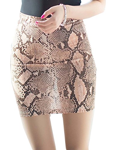 BgBisnlz Womens Sexy See-Through Split Back Bodycon Fit Mini Skirt Snake