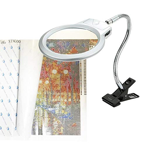 5D Diamond Painting Tools Magnifier LED Light with Clamp, Folding Design with 2 Glass Lens 4X & 6X Magnifier for DIY 5D Diamond Painting Kits for Adults by Number Kit