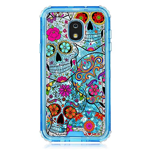 TurtleArmor   Compatible for Samsung Galaxy J7 (2018) Case   J737   Blue Fitted Dual Layer TPU Bumper Case with Flowing Liquid Waterfall Quicksand Glitter Sparkle Bling Hearts - Sugar Skull