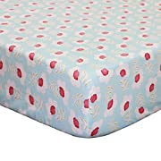 Mila Floral Fitted Crib Sheet - Coral and White Flowers on Blue - 100% Cotton