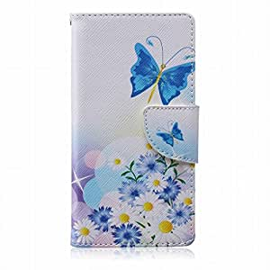 LEMORRY Sony Xperia M2 Flip Case, [Dual Printed] Butterfly Flower[Painted Series] Durable Soft TPU Cover + PU Leather Wallet Cards Stand Magnet Strap Flexible Skin Protection