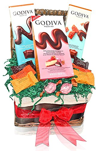Valentine's Day Godiva Chocolate Variety Gift Basket - Godiva Masterpieces - Strawberry Truffles - Dark Sea Salt and Milk Caramel Salt Tablet - Gifts for Him and Her
