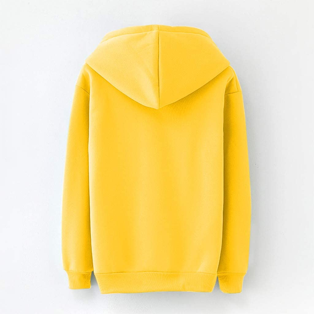 IZHH Damen Hoodie Sweatshirt Langarm Freizeit Herbst Winterjacke Mode Kapuzenpullover Frauen Oberteile Tops mit Tunnelzug Gelb