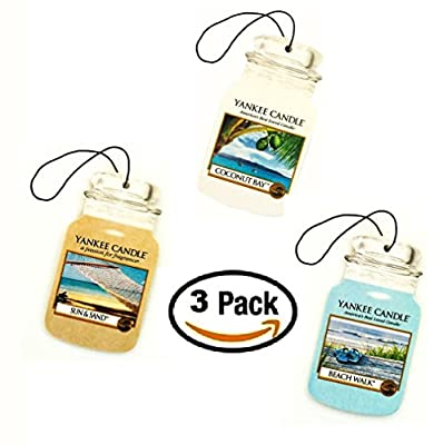 Yankee Candle Car Jar -- Summer Beach Trio - Beach Walk, Sun and Sand, Coconut Bay - Set of THREE Car Jars