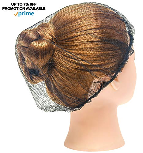 """1000 Pack Black Nylon Hairnets 21"""" Size. Disposable black hairnets. Protective Hair Nets with Elastic Edge Mesh. Stretchable Hairnet Caps for Non-Medical Use. Lightweight, Breathable. Wholesale price. by ABC Pack & Supply (Image #3)"""