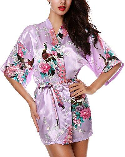 Woman Avidlove Kimono For Purple Lingerie Satin Light Pajama Short Floral Print m8wvNn0
