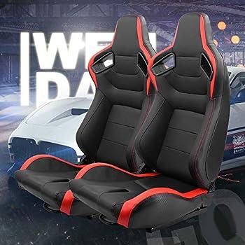 Topline Autopart Mu Sport Black Stitch Pvc Leather Reclinable Racing Bucket Seats With Sliders L+R T01
