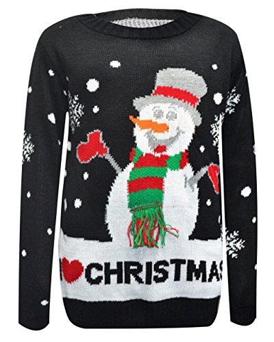 Comfiestyle - Pull - Pull - Manches Longues - Femme Black Snowman