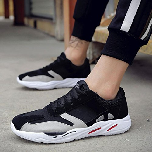 Momola Men's Casual Running Sport Shoes Patchwork Mesh Breathable Lace-up Sneakers Teen Boys Trainers Male Fitness Sport Footwear Athletic Shoes Black vY5fe15Jf