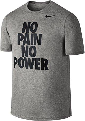 Nike No Pain No Power Center Stack Bold Block Font Dri-Fit T-Shirt (Heather Gray, Large)