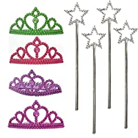 Tiara and Star Wand Princess Set for Girls. 4 Shiny Assorted Colored Toy Tiaras and 4 Silver Star Sticks - Great for Dress-Up, Pretend Play, Princess, Halloween, Costume, Party Favors, Gifts, and More