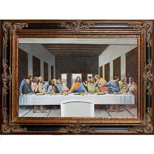 overstockArt Leonardo Da Vinci-The Last Supper Artwork with Excalibur Gold and Glossy Black Frame