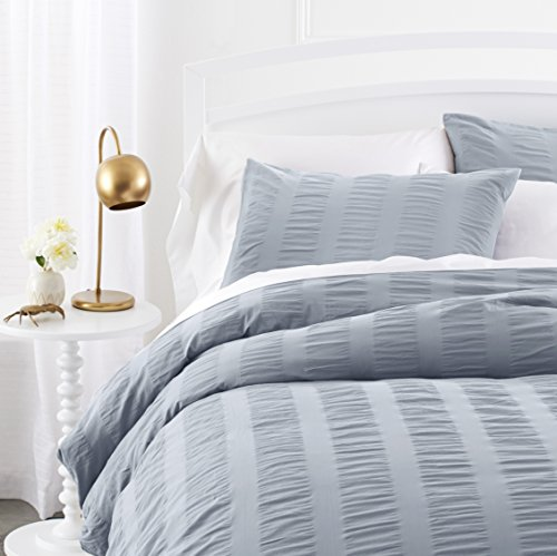 Pinzon Cotton Seersucker Duvet Cover Set - King, Dusty Blue