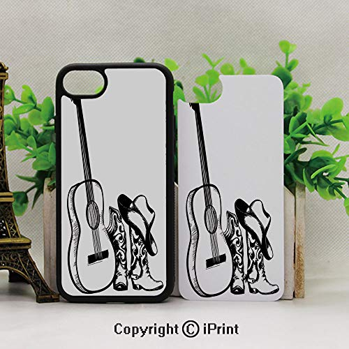iPhone 8 Plus/iPhone 7 Plus Case,Protective Hybrid Rubber Bumper,Country Music Theme with Cowboy Shoes Hat and Guitar Instrument Sketch ArtBlack and White