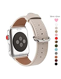 Apple Watch Band 38mm,WFEAGL Retro Top Grain Genuine Leather Band Replacement Strap with Stainless Steel Clasp for iWatch Series 3,Series 2,Series 1,Sport, Edition (IvoryWhite Band+Silver Buckle)