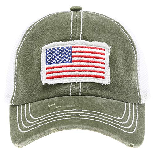 (MIRMARU Women's Baseball Caps Distressed Vintage Patch Washed Cotton Low Profile Embroidered Mesh Snapback Trucker Hat (USA Flag,)
