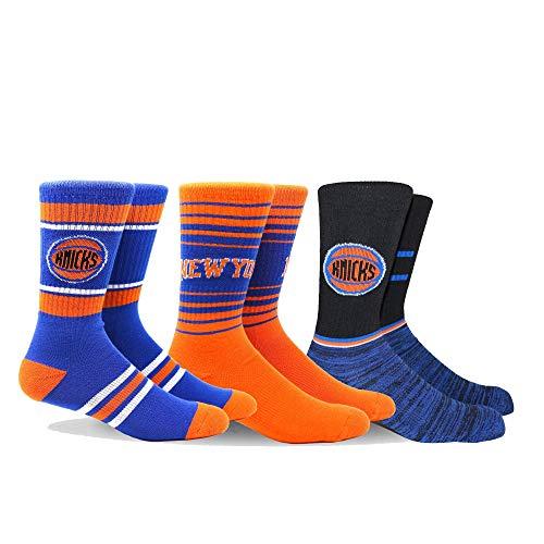(PKWY by Stance NBA Men's Team 3-Pack Socks (Large, New York Knicks))