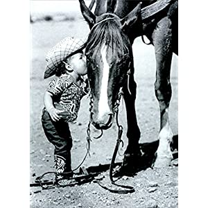 Little Cowgirl Kissing Horse America Collection Birthday Card