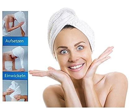 Microfibra toalla de cabeza – aufsetzen – Enrollarlo – zuknöpfen – Pelo turbante toalla de cabeza