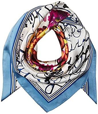 Vince Camuto Women's Love Letter Silk Square Scarf, Blue, O/S