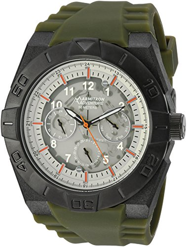 Armitron Adventure Men's AD/1008IVTIGN Lightweight Fiberglass Case Multi-Function Green Silicone Strap Watch - Ivory Textured Dial