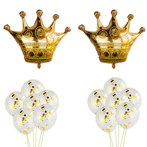 2Pcs Crown Balloons with 12Pcs Gold Confetti Balloons,Crown Foil Helium Balloons for Birthday Wedding Party Decoration -