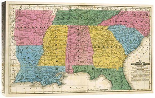 1839 Map (Global Gallery Samuel Augustus Mitchell Map of The Southern States 1839 Stretched Canvas Artwork)