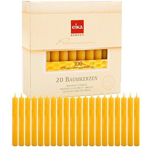 Eika Box of 20 Finest Beeswax Tree Candles Honey Yellow 100 Percent Beeswax High 10.5 Centimeters ()
