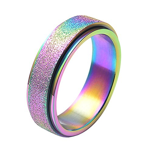 Lucky Stainless Steel Ring - UNAPHYO Women's Stainless Steel Rainbow Sandblast Lucky Spinner Ring Band Size 7