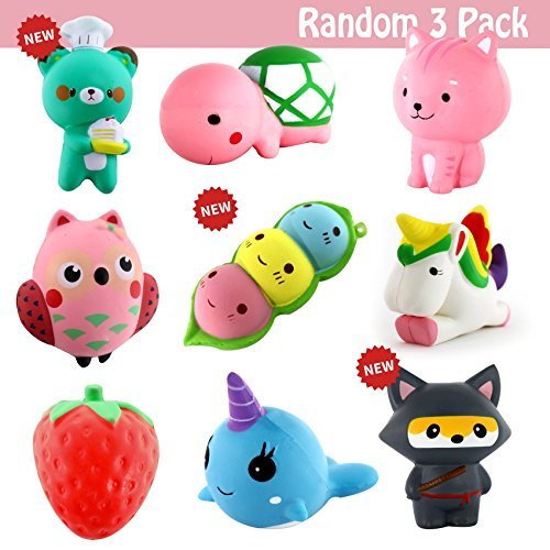 3 Pack Squishies Jumbo, Slow Rising Squishy Toy Silly Kawaii Large Animals Toys Randomly Selected 3 PCs