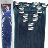 Straight Remy Human Hair Extensions 24 Colors for Your Choose in 15inch ,18inch ,20inch ,22inch ,Beauty Salon Women's Accessories (22inch 80g, bLUE)