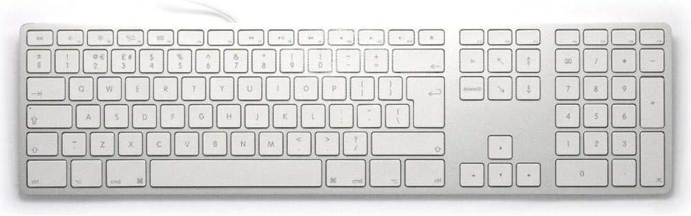 Matias fk318s de UK Aluminio avanzadas USB Teclado/Keyboard para Apple Mac OS | QWERTY | UK Layout | con reaktionsschnellen Teclas Planas y numérico ...