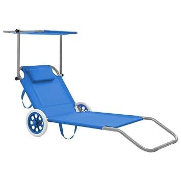 Ruedas Vidaxl Asiento Parasol Tumbona Con Sofá Azul Plegable Acero zMSVpqLUG