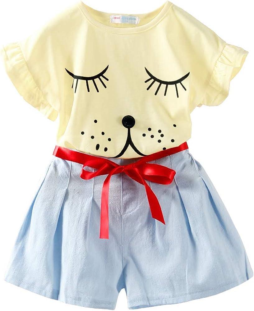LittleSpring Girls Summer Outfit Sleeping Puppy Print Pleated Short Set Set