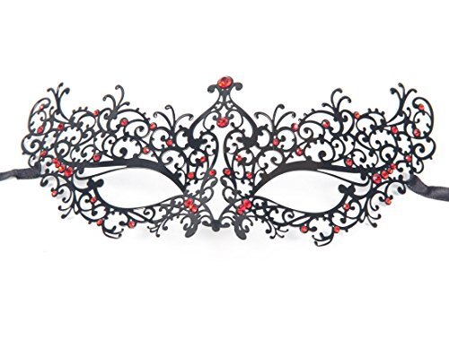[Signstek Red Rhinestones Metal Luxury Venetian Laser Cut Masquerade Filigree Mask (Black/Red] (Masquerade Masks Metal)