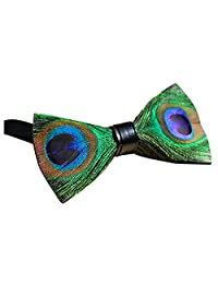 Peacock Feather Batwing Bow Tie Natural Material Handmade Bowtie