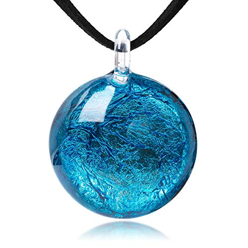 Blue Glass Necklace - Hand Blown Glass Jewelry Glitter Ocean Blue Round Pendant Necklace, 17-19 inches Leather Cord