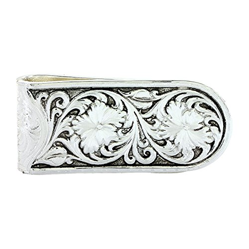 Sheridan Silver Plated (Montana Silversmiths Men's Antiqued Sheridan Rose Money Clip Silver One Size)