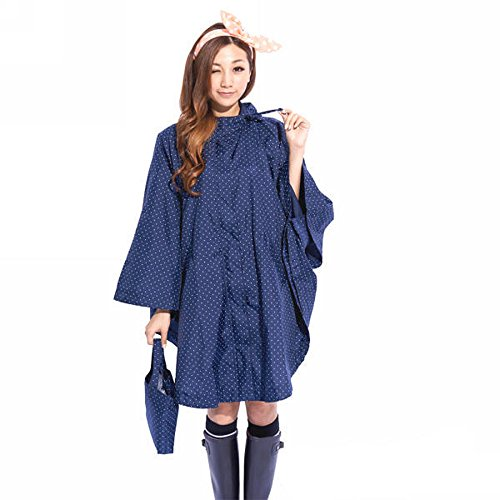Dopobo Fashion Stylish Ladies Hooded Raincoat Raincape Rainwear Fast Dry Lovely Lady Girls Women Cute Poncho Cloak (blue (Blue Raincoat Costume)